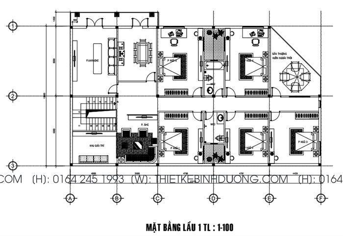 bản vẽ thiết kế biệt thự phố tại bình dương