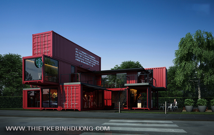 mẫu thiết kế shop cafe bằng container tại bình dương 01