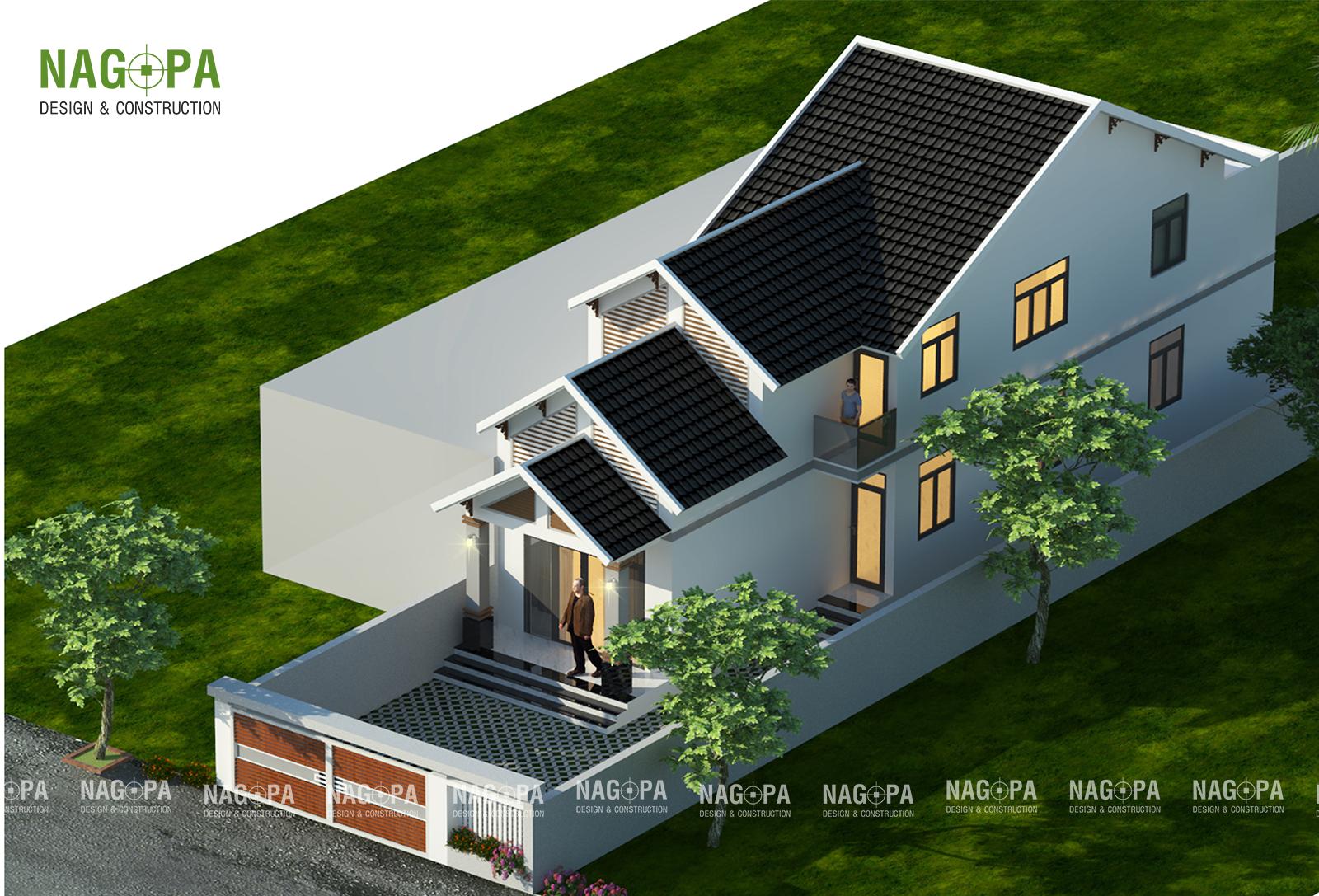 thiết kế nhà 1 trệt 1 lững mái thái tại bình phước